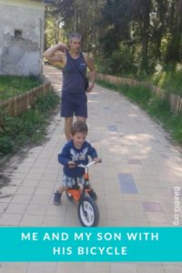 Me and my son with his bicycle